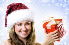 Free Beautiful Woman With A Gift Stock Photo - 6657120