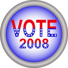 Free Vote 2008 Button Royalty Free Stock Image - 6657606