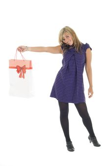 Free Pretty Blonde Carrying Bag Royalty Free Stock Photography - 6659157