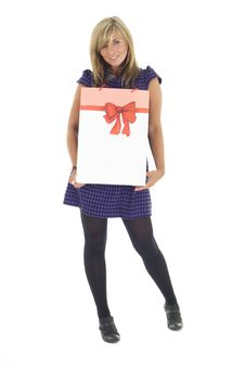 Free Pretty Blonde Carrying Bag Stock Images - 6659174
