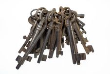 Free Bunch Of Old Keys Isolated On White Background Stock Photography - 6660082