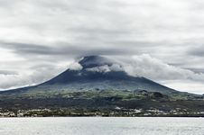 Pico Volcano View From The Sea, Pico Island, Azore Stock Photos