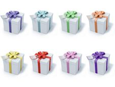 Four Present Boxes On White Background Stock Photography