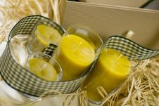 Free Candles, Ribbon And Box Stock Photography - 6661882