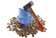 Free Hammer Crush Piggy Bank Stock Images - 6665204