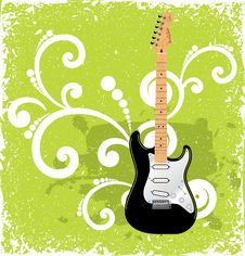 Free Guitar On Green Vintage Background Stock Photo - 6665940