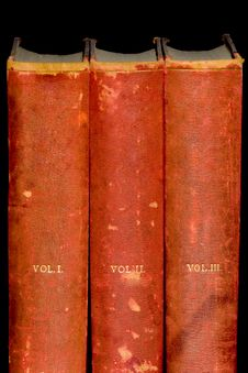 Row Of Old Leather Bound Books Royalty Free Stock Images