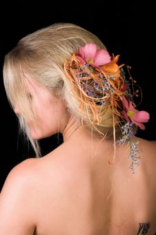 Flowers In Her Hair Royalty Free Stock Photos