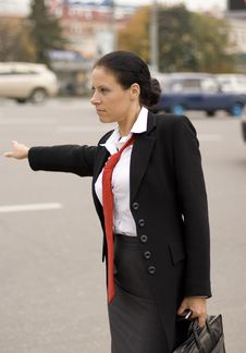 Free Hitchhiking Businesswoman Royalty Free Stock Photography - 6669017