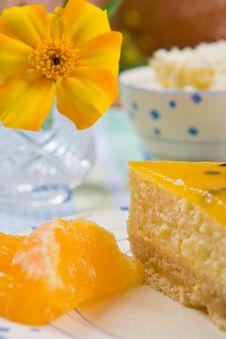 Cheesecake With Fresh Orange Slices Stock Photos