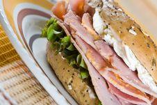Bagel With Freshly Cut Honey Roasted Ham Royalty Free Stock Image