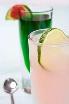Grapefruit Juice And A Slice Of Lime