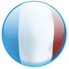 Blue Button Flag France Stock Image