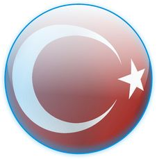 Blue Button Flag Turkey Royalty Free Stock Images
