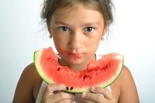 Free Little Girl And Watermelon Royalty Free Stock Photos - 6672428
