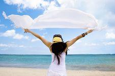 Free Girl With White Cloth Enjoying Seascape Stock Image - 6673551