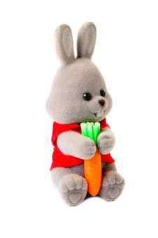 Toy Rabbit With Carrot Isolated On White Royalty Free Stock Photography