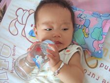 Drinking Water Baby Stock Photos