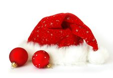 Santa Claus Hat And Spheres Stock Photo