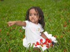 Asian Girl In The Garden Stock Photo