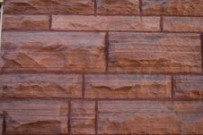 Red Sandstone Wall Stock Image