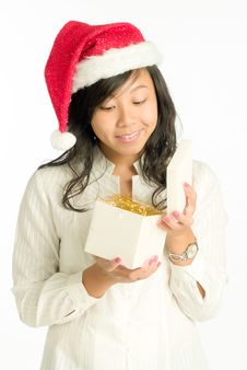 Opening A Christmas Gift Stock Photography