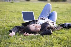 Free Girl With Laptop On Grass, Campus Royalty Free Stock Image - 6679626