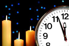 Clock Set At Three Minutes To Midnight Stock Images
