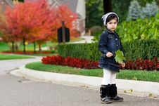 Free Girl And Red Autumn Trees Royalty Free Stock Photos - 6679778