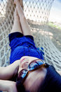 Free Woman Relaxing In Hammock Caricature Angl Stock Images - 6682964