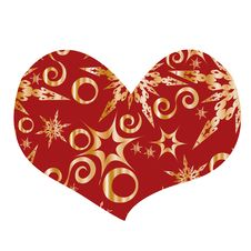 Red Heart With Snowflakes Royalty Free Stock Images