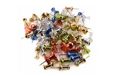 Pile Of Colorful Metallic Push Pins Stock Image