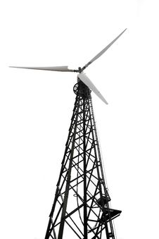 Wind Turbine Over White Stock Images