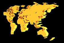 Golden World Map Stock Images