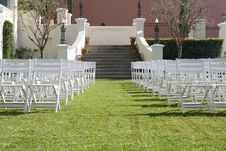 Setup For The Ceremony - Garden Stock Images