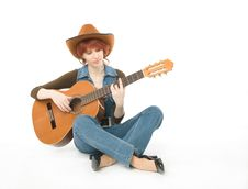 Free Woman With Guitar Stock Images - 6683594