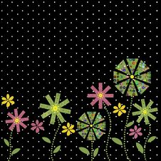 Free Funky Flower Border On Black Background Stock Photography - 6684972