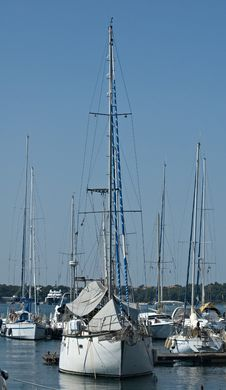 Yacht At Anchor Royalty Free Stock Photography