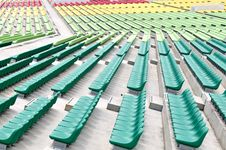 Free Empty Colourful Spectator Chairs Royalty Free Stock Photography - 6688087