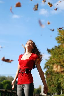 Free Woman And Maple Leaf Stock Photos - 6688363