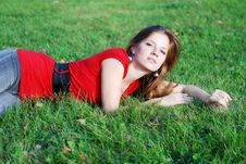 Free Young Woman And Green Grass Royalty Free Stock Photo - 6688555