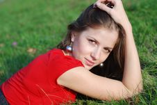Free Young Woman And Green Grass Stock Images - 6688574