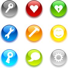 Free Glossy Buttons. Stock Photos - 6688833