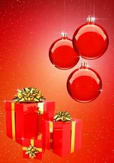Red Christmas Balls With Gift Boxes Set Royalty Free Stock Images