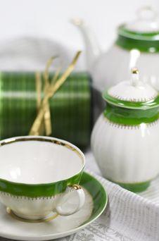 Free White With Green Tea Service Stock Photos - 6689693