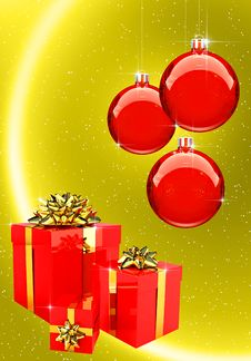 Red Christmas Balls With Gift Boxes Set Stock Photography