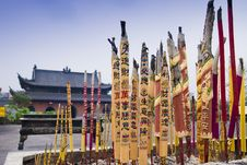 Chinese Ancient Architecture With The Buddhist Royalty Free Stock Photography