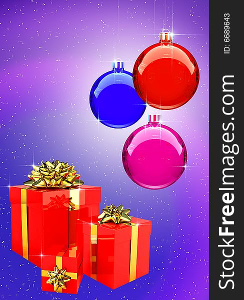 Colorful Christmas Balls with gift boxes set
