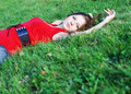 Free Young Woman And Green Grass Stock Image - 6690381