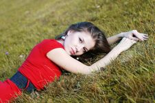 Free Young Woman And Grass Stock Image - 6690491